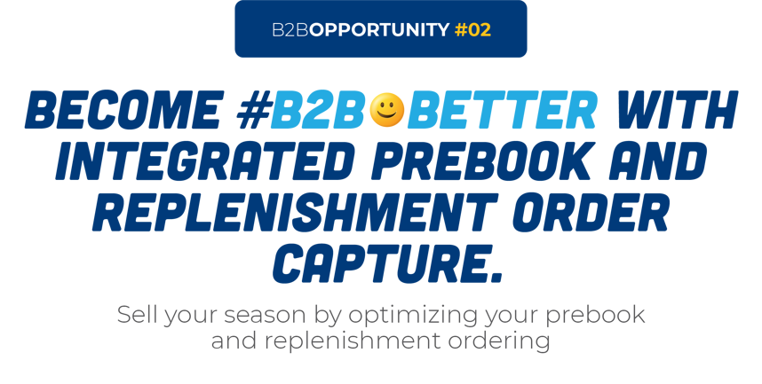 Become #B2B😀Better With Integrated Prebook And Replenishment Order Capture.